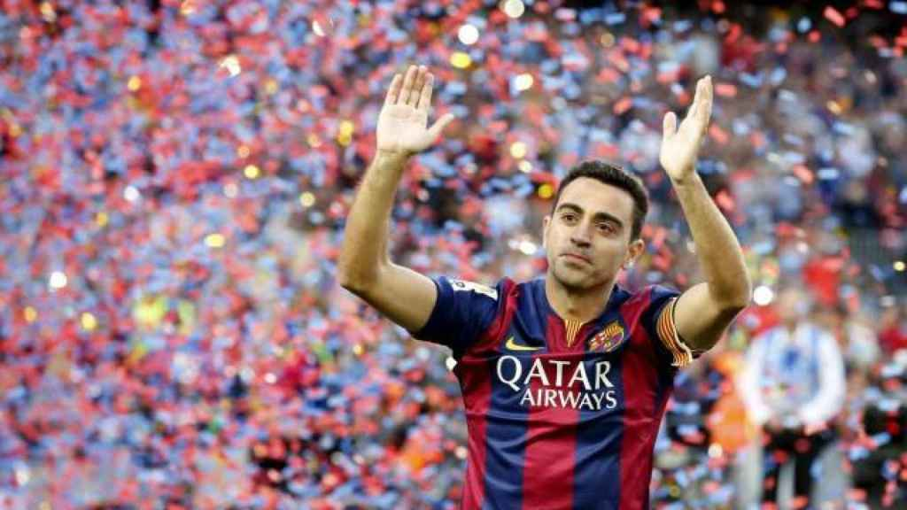 Xavi durante un homenaje con el Barça
