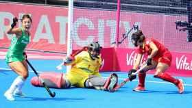 O'Flanagan celebra su gol ante España en las semifinales del Mundial de hockey hierba femenino.