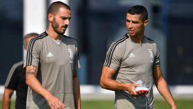 Bonucci y Cristiano durante un entrenamiento. Foto: juventus.com