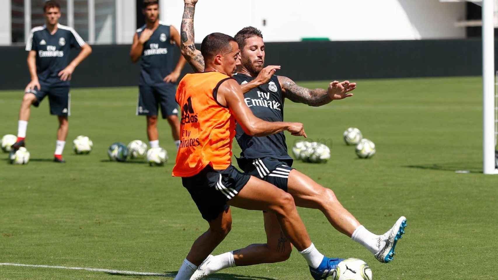 Lucas Vázquez y Sergio Ramos entrenando en el Audi Field. Foto: realmadrid.com