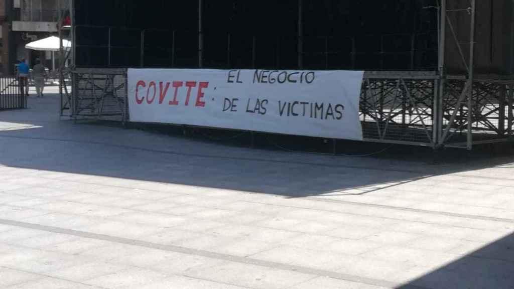 Pancarta en Lasarte contra Covite el día de la liberación de Santi Potros.