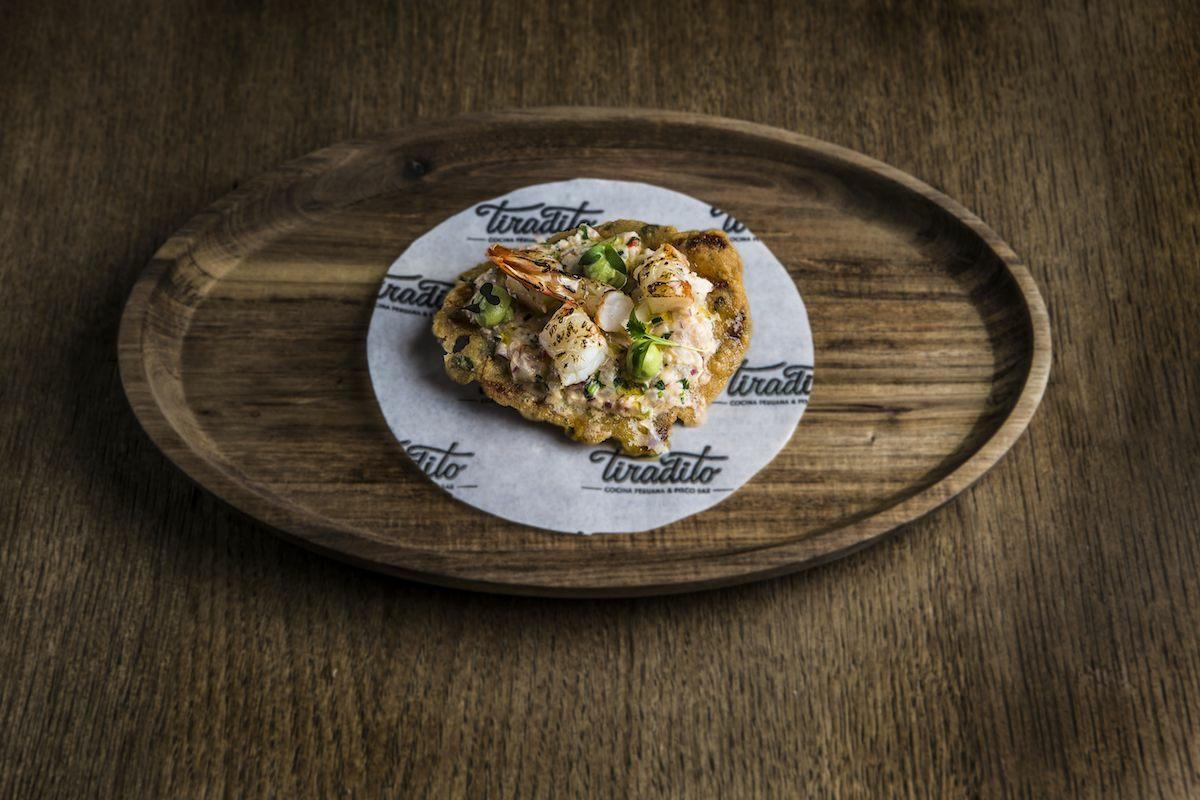 Tiradito - tortita camarones