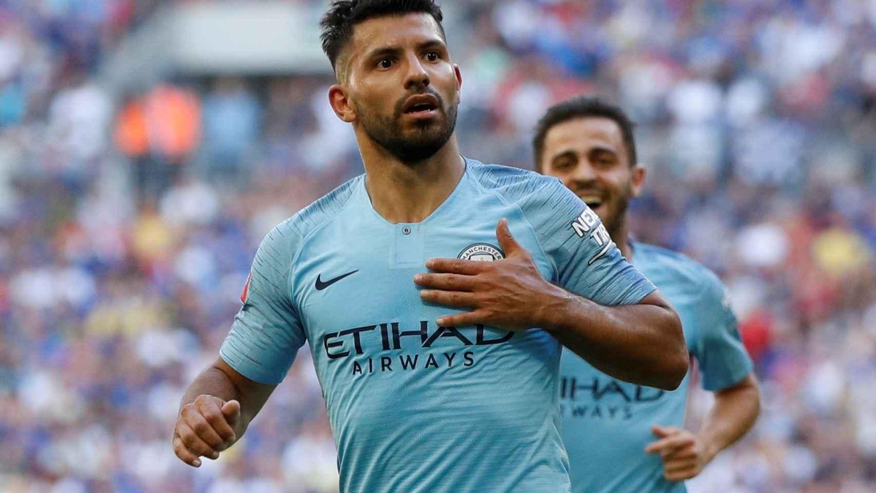 Agüero celebra el segundo gol ante el Chelsea.