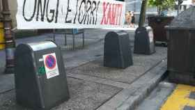 Ongi etorri Xanti la pancarta de bienvenida a Santi Potros a Lasarte
