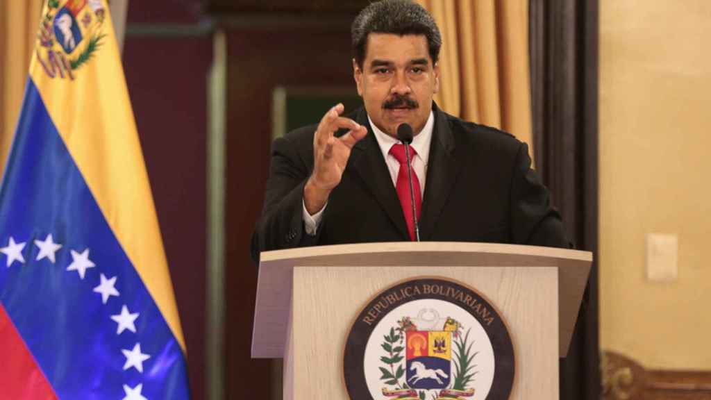 Nicolás Maduro durante su alocución tras el supuesto intento de atentado en Caracas este sábado. REUTERS