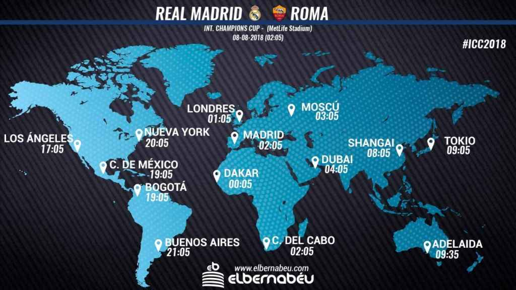 Horario internacional y dónde ver el Real Madrid - Roma