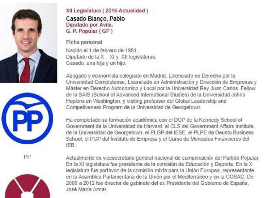 Ficha de Casado en la web del Congreso./