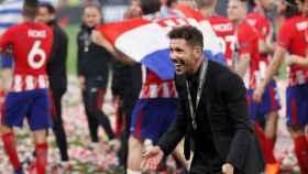 Simeone celebra la Europa League del Atlético
