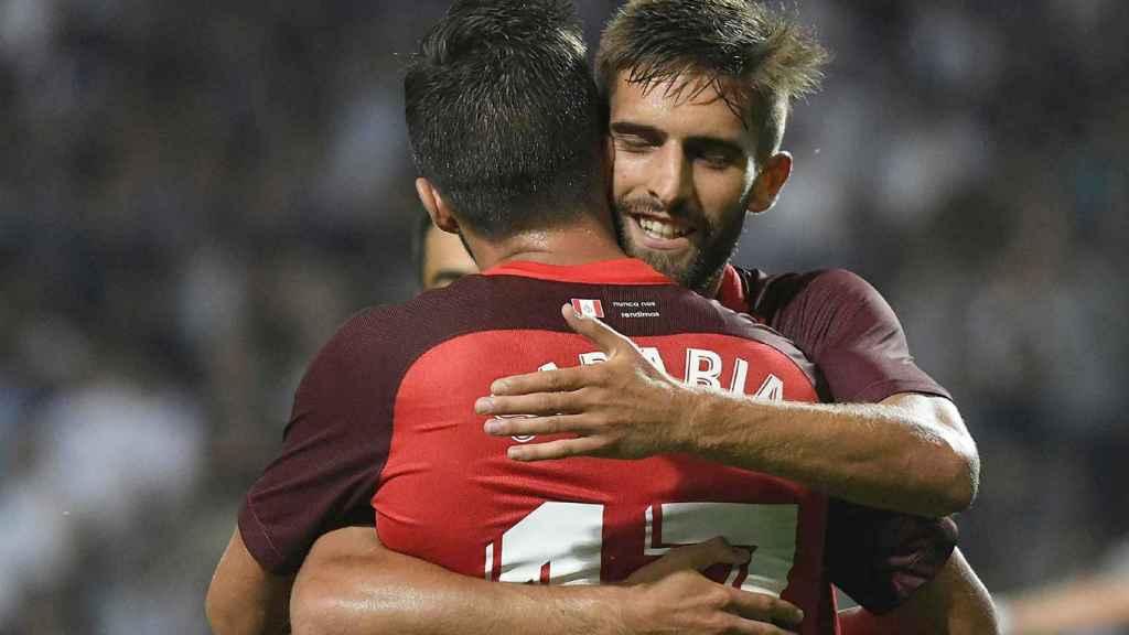 Celebración de un gol del Sevilla