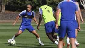 Hazard, durante un entrenamiento con el Chelsea. Foto: Twitter (@chelseafc)