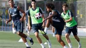 Marcelo y Varane se entrenan con el Castilla
