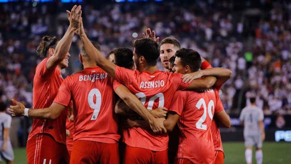 Los jugadores del Real Madrid, celebrando un gol