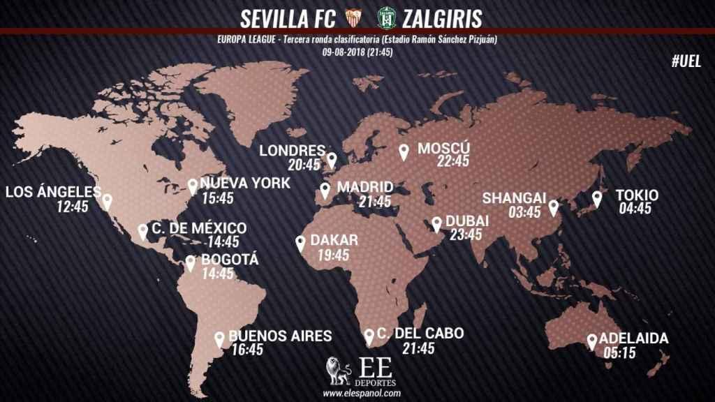Horario del partido entre el Sevilla y el Zalgiris