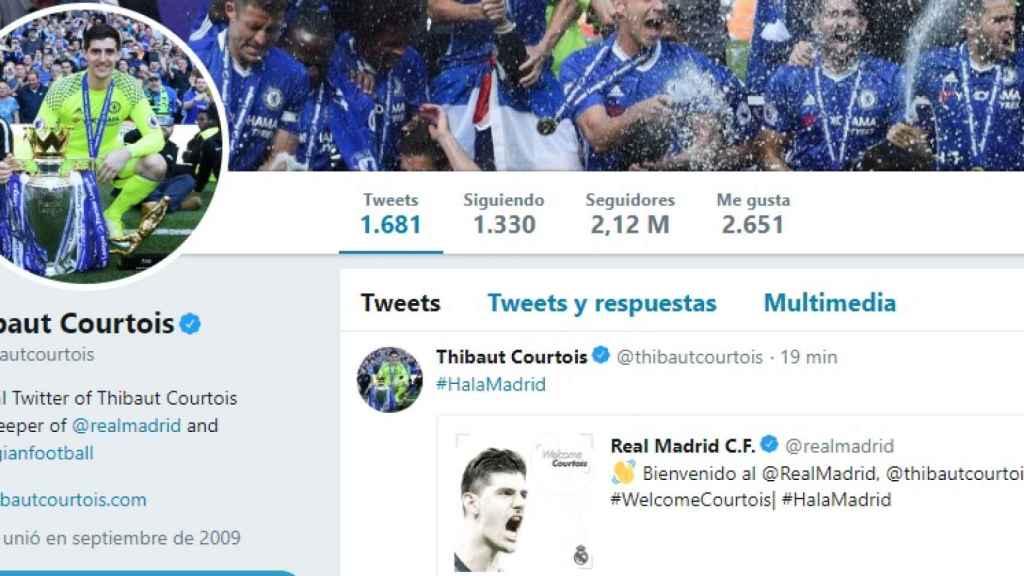 Courtois cambia su bio en Twitter