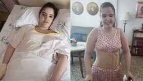 A la izquierda, Alba, en una imagen tomada en mayo de este año por el fotógrado Marcos Moreno, y en otra hecha por su madre este pasado miércoles. En la de la derecha se le ve caminando con la ayuda de un andador, algo inimaginable hace mes y medio, cuando estaba encamada en un hospital.