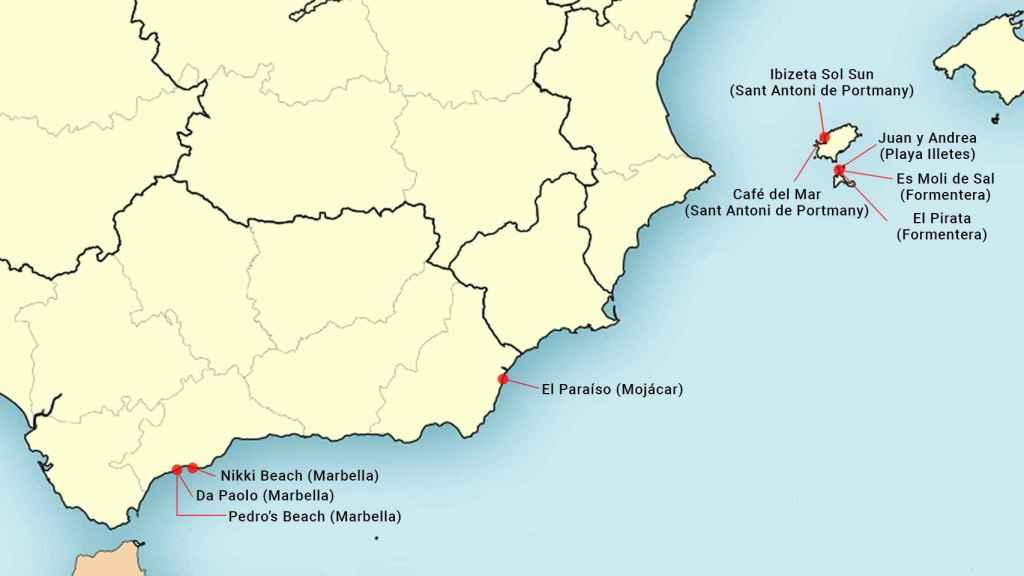 Mapa de los chiringuitos.