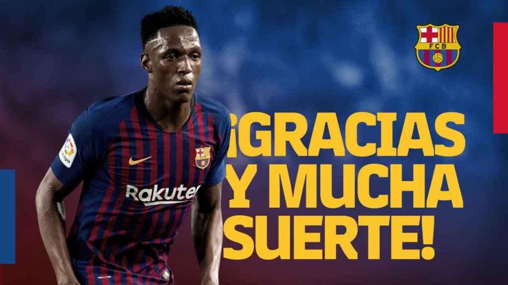 Así anunció el Barcelona la venta de Yerry Mina. Foto: fcbarcelona.es