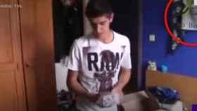 Courtois, con la bandera del Real Madrid en su habitación