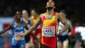 Fernando Carro en la final de los 3.000 metros obstáculos