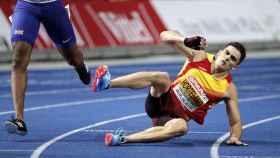 Bruno Hortelano acabó por los suelos la final de 200m del Europeo.