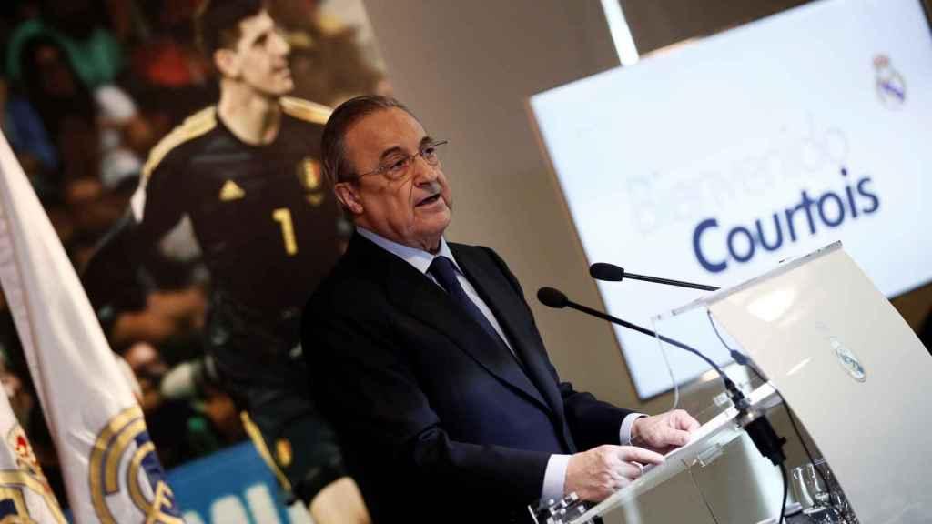 Florentino Pérez, durante la presentación de Thibaut Courtois con el Real Madrid