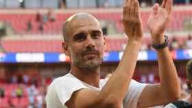 Pep Guardiola al final del partido de la Community Shield