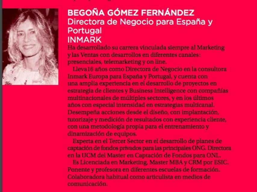 Trayectoria de Gómez en el programa del último Congreso Nacional de Márketing y Ventas de APD.