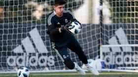 Courtois en su segundo entrenamiento con el Real Madrid