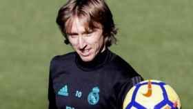 Modric, en un entrenamiento con el Madrid.