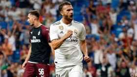 Mayoral celebra su gol ante el Milan.