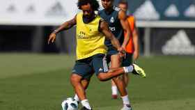 Marcelo y Casemiro entrenándose en Valdebebas