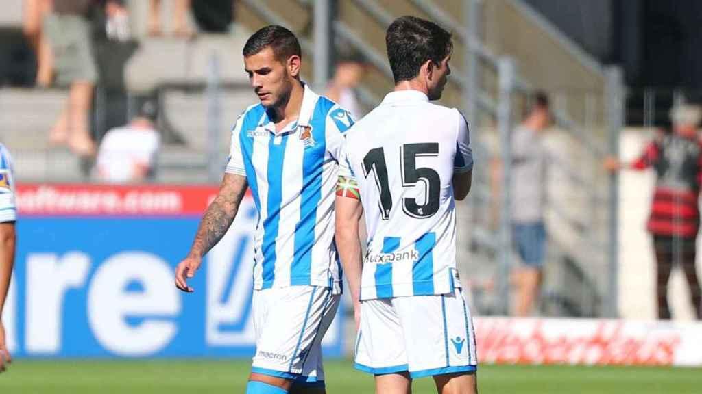 Theo Hernández sustituye a un jugador de la Real Sociedad. Foto: realsociedad.eus