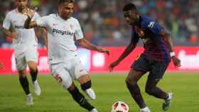 Dembélé en la Supercopa de España contra el Sevilla