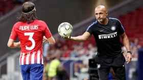 Filipe Luis y Spalletti, durante un momento del partido.