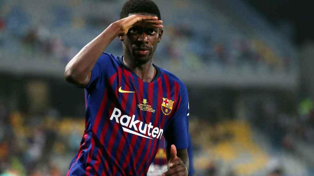 Dembélé celebra el gol de la victoria del Barcelona en la Supercopa de España