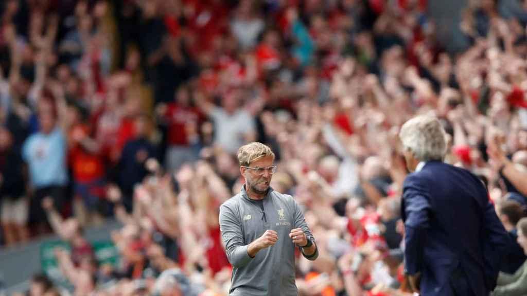 Klopp celebrando un gol del Liverpool durante un partido de la Premier