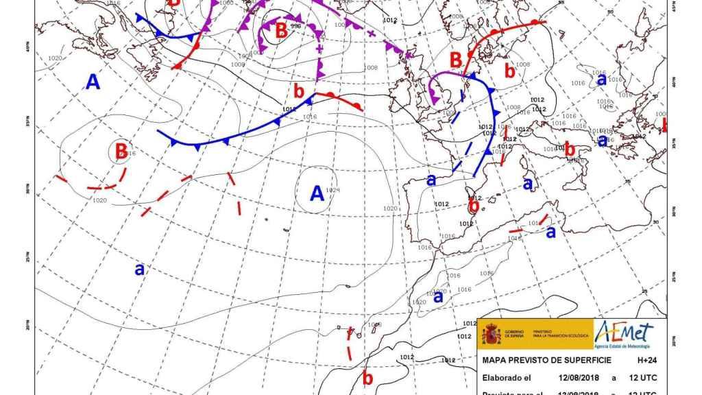 Mapa de isobaras del tiempo este lunes en España.