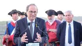 El presidente de la Generalitat, Quim Torra, en los actos conmemorativos de la batalla de Talamanca.