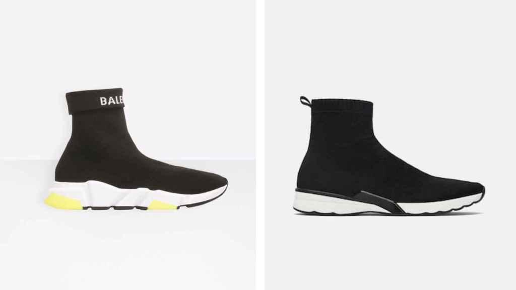 Las zapatillas 'speed' de Balenciaga, y la réplica comercializada por Zara.