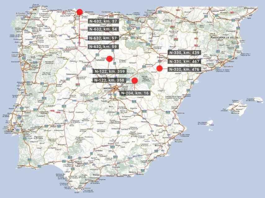 Puntos negros en la red de carreteras de España