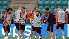 El Real Madrid entrenándose en Tallin