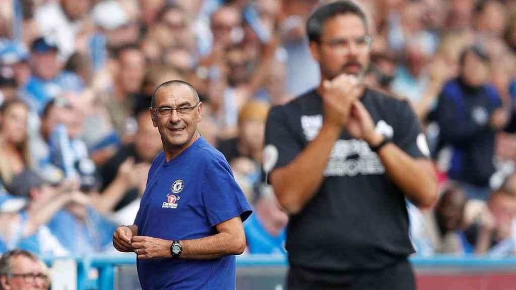 Sarri, en el partido ante el Huddersfield Town.