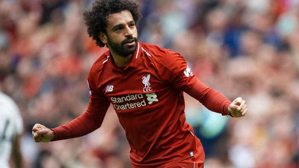 Salah, tras anotar uno de los goles con su equipo en la primera jornada de la Premier League 2018/2019
