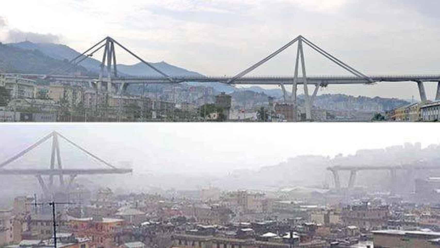 El antes y el después del puente.