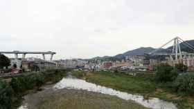El viaducto caído en Génova.