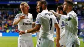 Benzema celebra su gol al Atlético de Madrid en la Supercopa de Europa