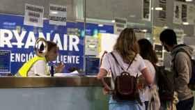 Un mostrador de Ryanair durante una huelga.