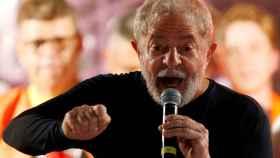Lula da Silva en una imagen de marzo de 2018 en un mitin en Curitiba