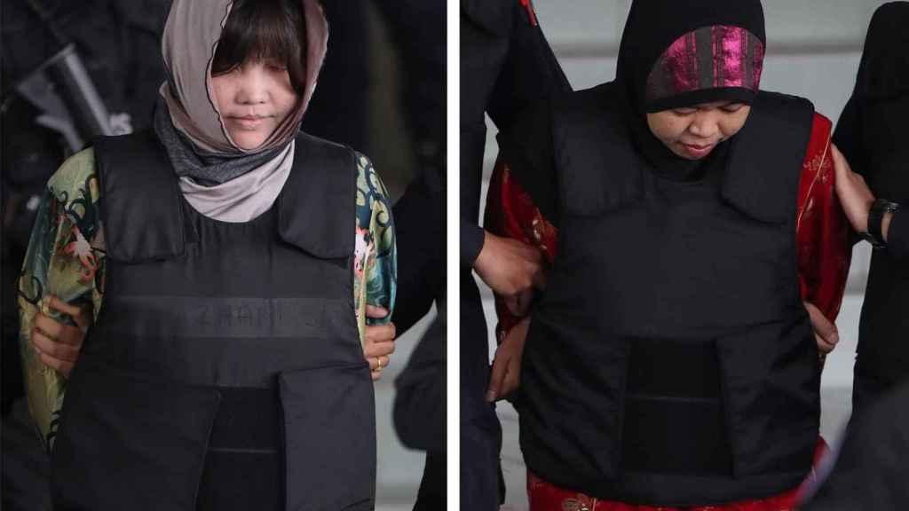 Las dos acusadas del asesinato del hermanastro de Kim Jong-Un.