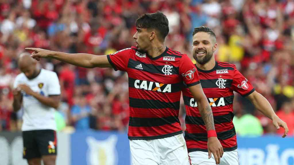 Lucas Paquetá celebra su gol con el Flamengo